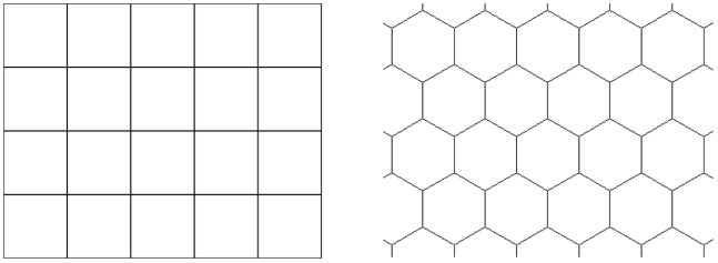 SOM grids can either be rectangular or hexagonal.